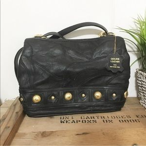 Brand new / 80S style gold stud leather bag
